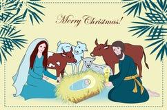 Nativity scene with saint family and animals. Cartoon vector Royalty Free Stock Photography