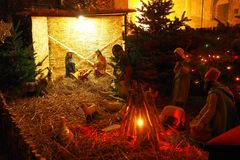 Nativity scene with shepherds and animals royalty free stock photography