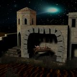 Nativity scene with stable. 3D Render of an Nativity scene with stable Royalty Free Stock Images