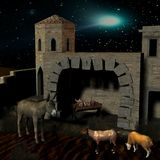 Nativity scene with stable. 3D Render of an Nativity scene with stable Stock Images
