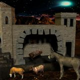 Nativity scene with stable. 3D Render of an Nativity scene with stable Stock Image