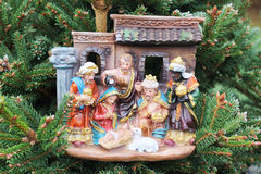 Nativity scene with stable Royalty Free Stock Images