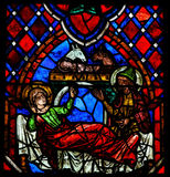 Nativity Scene Stained Glass in Tours Cathedral Royalty Free Stock Photos
