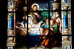 Nativity Scene. Stained glass window Royalty Free Stock Photo