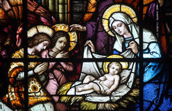 Nativity Scene. Stained glass window in the Catholic Church of the Birth of the Virgin Mary, on June 08, 2012, in Prcanj, Montenegro stock photos