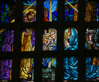 Nativity Scene - stained glass Stock Photos