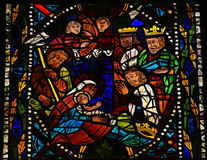 Nativity Scene. Stained glass window depicting a Nativity Scene with the Three Magi from the East in the cathedral of Leon, Castille and Leon, Spain royalty free stock photo