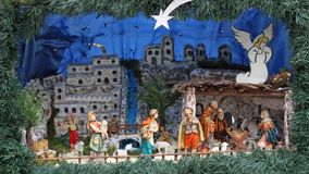 Nativity scene with statues in classical model with pastors Stock Photo