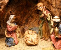 Nativity scene with statues of hand-decorated pottery 2 Royalty Free Stock Photo