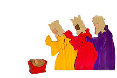 Nativity Scene Three Kings. Carved wooden nativity of the three wise men or three kings Stock Photo