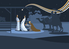 Nativity scene and the three wise men. Nativity scene with the three wise men and the child Jesus. In modern flat color style Stock Photos