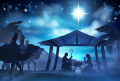 Nativity Scene With Three Wise Men Royalty Free Stock Photos