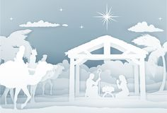Nativity Scene With Three Wise Men. Christmas Christian religious Nativity Scene of baby Jesus in the manger with Mary and Joseph in silhouette. With the three Royalty Free Stock Photography