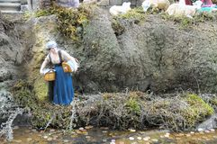 Nativity scene. Traditional European Statuette in a Christmas Crib Nativity Scene royalty free stock photos