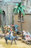 Nativity scene. Traditional European Statuette in a Christmas Crib Nativity Scene royalty free stock images