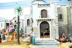 Nativity scene. Traditional European Statuette in a Christmas Crib Nativity Scene royalty free stock photo