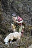 Nativity scene. Traditional European Statuette in a Christmas Crib Nativity Scene stock photography