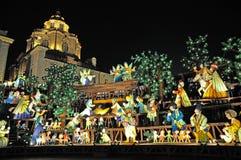 Nativity scene in Turin by night Stock Photos