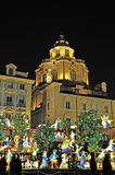 Nativity scene in Turin by night Stock Images