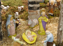 Nativity scene in a typical ligurian crib Royalty Free Stock Photos