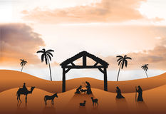 Nativity scene vector in desert Stock Photos