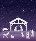 Nativity scene vector under starry sky Royalty Free Stock Images