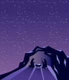 Nativity scene vector under starry sky Royalty Free Stock Photos