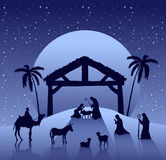 Nativity scene vector under starry sky Royalty Free Stock Photo