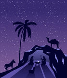 Nativity scene vector under starry sky Stock Photography
