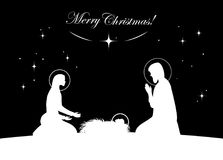 Nativity scene vector. White on black. Vctor nativity scene. Mary with Jesus, and Joseph silhouette Royalty Free Stock Photos