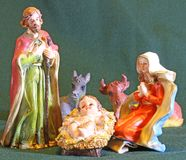 Nativity scene with Virgin Mary, Joseph, baby Jesus Royalty Free Stock Image