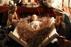 Nativity scene xmas. A beautiful nativity scene of Christ, Mary and Joseph and farm animals Stock Photos