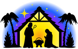 Nativity Silhouette. Illustration of the holy family in silhouette...I also have two matching illustrations, shepherds and wisemen...perfect for Christmas cards Royalty Free Stock Images