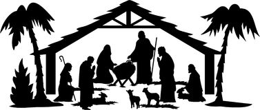Nativity Silhouette/eps. Illustration of a nativity scene in silhouette...eps file available with figures separate and editable Royalty Free Stock Photos