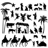 Nativity Silhouette set. High detail Vector nativity Christmas set of Black silhouettes