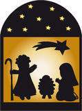 Nativity Silhouette And Stars. Silhouette scene of the Nativity with Jesus, Mary, Joseph and shooting star in black and gold Stock Photography