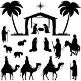 Nativity Silhouettes Collection. Collection of silhouettes for Christmas. Holy family, shepherds, sheeps, wisemen and people praying in front of the stable. Eps Royalty Free Stock Images