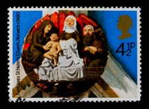 `The Nativity` St Helen`s Church, Norwich, 1480, Christmas 1974 - Church Roof Bosses serie, circa 1974. MOSCOW, RUSSIA - OCTOBER 3, 2017: A stamp printed in Stock Image