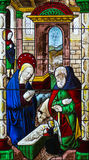 The Nativity Stained Glass - ca. 1460-80 Stock Photography