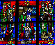 The Nativity in stained glass Stock Photography