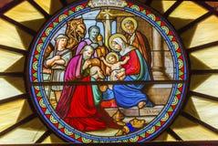 Nativity Stained Glass Saint Catherine Nativity Church Bethlehem Palestine. Three Kings Nativity Stained Glass Saint Catherine Church Church of the Nativity Stock Photos