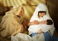 Nativity van Kerstmis in een trog Stock Afbeelding