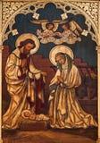 Nativitymålarfärg på trät från Sanktt Antoine royaltyfri fotografi