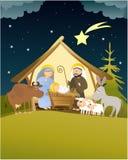 Nativityscène van Kerstmis met Heilige Familie Stock Afbeeldingen