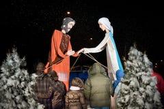 Nativityspelrum på beröm av jul Polen Arkivbilder