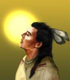 Nativo americano e sol ilustração royalty free