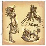 Nativo americano, indiano - um esboço tirado mão do vetor, a mão livre ilustração stock
