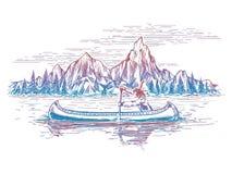 Nativo americano nel paesaggio della barca royalty illustrazione gratis