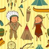Nativo americano, vettore indiano della cultura senza cuciture Fotografia Stock