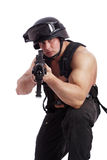 Nato. Shot of a soldier holding gun. Uniform conforms to special services(soldiers) of the NATO countries. Shot in studio. Isolated on white stock image